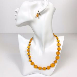 orange circles NECKLACE and EARRINGS jewelry set